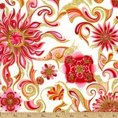Sweet Flowers Cotton Fabric - Pink / Gold