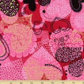 Sweet Hearts Cotton Fabric - Hot Pink/Gold K4097-H12G