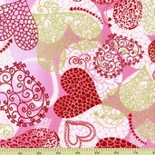 Sweet Hearts Cotton Fabric - Pink/Gold K4097-12G