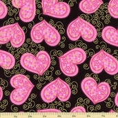 Sweet Hearts Swirls Cotton Fabric - Black/Gold K4098-4G