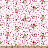 Sweet Jane Rose Ribbons Cotton Fabric - White