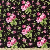 Sweet Jane Rose Toss Cotton Fabric - Black