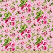 Sweet Jane Rose Toss Cotton Fabric - Pink
