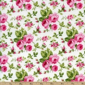 Sweet Jane Rose Toss Cotton Fabric - White