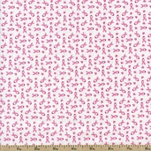 Sweet Jane Small Ribbons Cotton Fabric - White