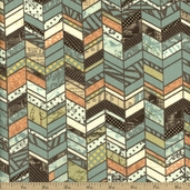 Moda Sweet Serenade Chevron Cotton Fabric - Teal