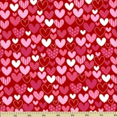 Sweetcakes Cotton Fabric - Heart Toss - Love Red C3141