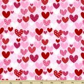Sweetcakes Cotton Fabric - Heart Toss - Pink C3141