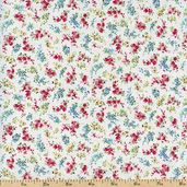Sweetie Pie Petite Nosegays Cotton Fabric - White 03646-09