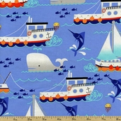Swim Free Marine Animals Cotton Fabric - Blue CX5868-BLUE-D