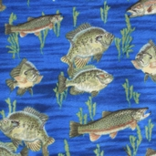 WinterFleece Fabric - Swimming Fish - Blue
