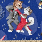 Swing Cats Dance Cotton Fabric - Blue K4132-7 BLUE