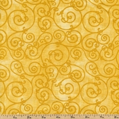 Swirls Cotton Fabric - Gold - Clearance