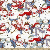 Swirly Snowmen Packed Cotton Fabric - White