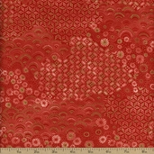 Tadashi Floral Gate Cotton Fabric - Red