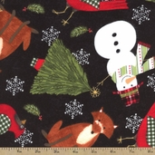 Tailor Made Holiday Flannel Fabric - Black