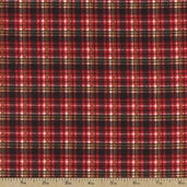 Tailor Made Holiday Plaid Flannel Fabric - Red