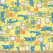 Take Flight Air Mail Cotton Fabric - Yellow