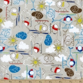 Take Flight Helicopters Cotton Fabric -  Light Taupe