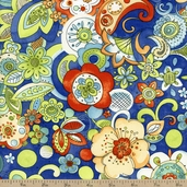 Tangier Floral Cotton Fabric - Royal Blue