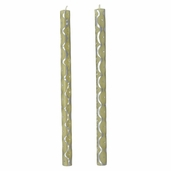 Taper Candle Hand Crafted Rolled Beeswax - Silver Scallop and Rhinestones - Clearance