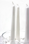 Taper Candles Pearlescent 8in. Box of 12 - Pearl White