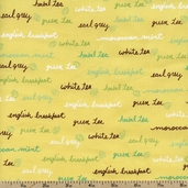 Tea Assorted Types Cotton Fabric - Yellow TEA-C4510 - CLEARANCE