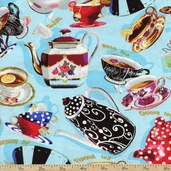 Tea for Two Tea Pot Toss Cotton Fabric - Blue