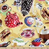 Tea for Two Tea Pot Toss Cotton Fabric - Yellow