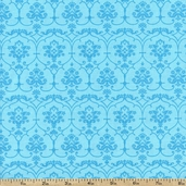 Tea for Two Vine Pattern Cotton Fabric - Blue