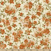 Tea House Cherry Blossoms Cotton Fabric - Terracotta 01697-70