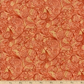 Tea House Garden Scroll Cotton Fabric - Terracotta 01696-88