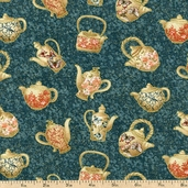 Tea House Tea Time Cotton Fabric - Teal 01695-84