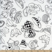 Tea Party Tea Pots Cotton Fabric - White