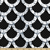 Tea Room Apron Ruffles Cotton Fabric - Black CX5896-BLAC-D