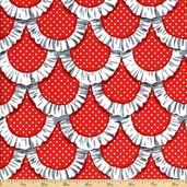 Tea Room Apron Ruffles Cotton Fabric - Red CX5896-REDX-D