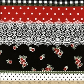 Tea Room Stripe Cotton Fabric - Black CX5938-BLAC-D