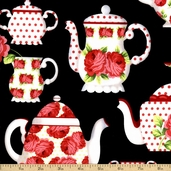 Tea Room Tea Cups Cotton Fabric - Black CX5937-BLAC-D