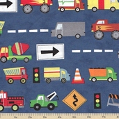 Ten Little Things Trucks Cotton Fabric - Navy