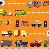 Ten Little Things Trucks Cotton Fabric - Orange 30501-12