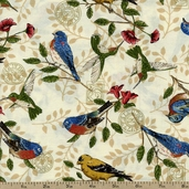Tend the Earth Bird Perch Cotton Fabric - Natural 19543-11