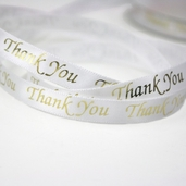 Thank You Satin Ribbon Pkg of 4 - White/Gold
