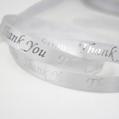 Thank You Satin Ribbon Pkg of 4 - White/Silver