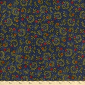 The Buggy Barn Essentials 8 Floral Flannel Fabric - Navy