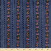 The Buggy Barn Essentials 8 Floral Stripe Flannel Fabric - Blue