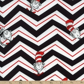 The Cat In the Hat 2 Chevron Cotton Fabric - Black