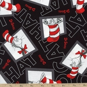 The Cat In the Hat 2 Window Toss Cotton Fabric - Black