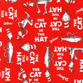 The Cat in the Hat Cotton Fabric - Red