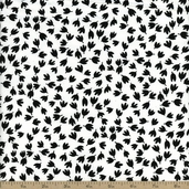 The Classic Collection Falling Leaf Cotton Fabric - Black On White - CLEARANCE