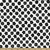 The Classic Collection Floral Cotton Fabric - Black On White - CLEARANCE